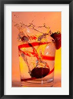 Framed Strawberry Splash In Red Swirl Glass II