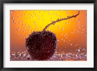 Framed Cherry Underwater Covered In Water Drops II