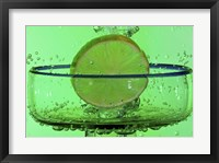 Framed Margarita Glass And Lemon Splash