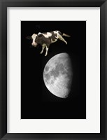 Framed Spotted Cow Over The Moon