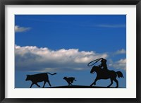 Framed Cowboy And Cows Silhouette
