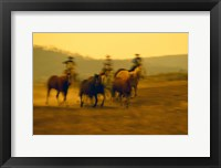 Framed Cowboys And Rushing Horses
