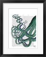 Octopus Tentacles Green and Blue Framed Print