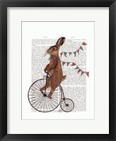 Rabbit On Penny Farthing Framed Print