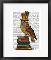 Owl On Books Framed Print