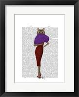 Cat In Red Dress Framed Print