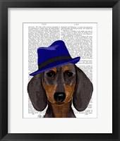 Dachshund With Blue Trilby Framed Print