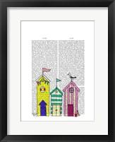 Beach Huts 1 Illustration Framed Print