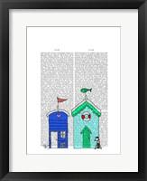 Beach Huts 2 Illustration Framed Print