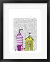 Beach Huts 3 Illustration Framed Print