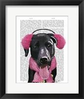 Framed Black Labrador With Ear Muffs