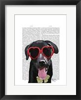 Framed Black Labrador With Heart Sunglasses
