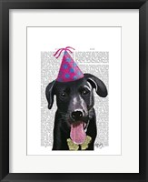 Framed Black Labrador With Party Hat