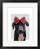 Framed Black Labrador With Red Bow On Head