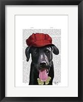 Framed Black Labrador With Red Cap