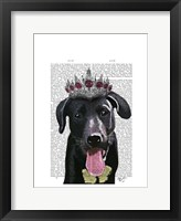 Framed Black Labrador With Tiara