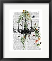 Chandelier With Vines and Butterflies Framed Print