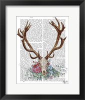 Framed Deer Skull With Flowers 1