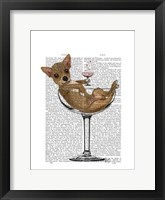 Chihuahua in Cocktail Glass Framed Print
