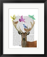 Framed Deer and Birds Nests Pastel Shades