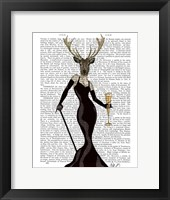 Glamour Deer in Black Framed Print