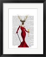 Glamour Deer In Red Framed Print