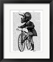 Framed Triceratops Man on Bike Dinosaur