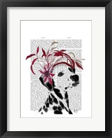 Dalmatian With Red Fascinator Framed Print