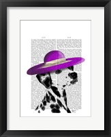 Dalmatian With Purple Wide Brimmed Hat Framed Print
