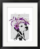 Dalmatian With Purple Fascinator Framed Print