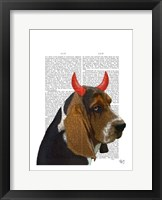 Basset Hound and Devil Horns Framed Print