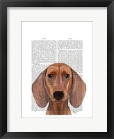 Dachshund Illustration Plain Framed Print