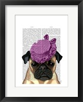 Pug with Vintage Purple Hat Framed Print
