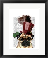 Framed Pug with Steampunk Style Top Hat
