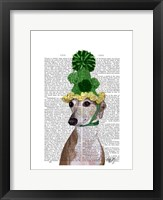 Greyhound in Green Knitted Hat Framed Print
