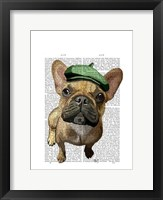 Framed Brown French Bulldog with Green Hat
