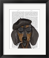 Hipster Dachshund Black and Tan Framed Print