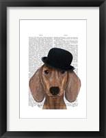 Dachshund with Black Bowler Hat Framed Print