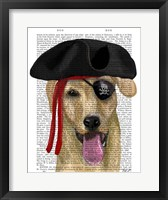 Framed Yellow Labrador Pirate