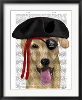 Framed Yellow Labrador Pirate