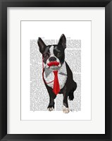 Framed Boston Terrier With Red Tie and Moustache