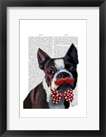 Framed Boston Terrier Portrait with Red Bow Tie and Moustache