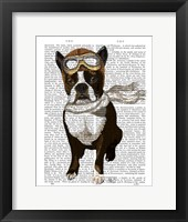 Framed Boston Terrier Flying Ace