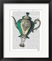 Framed Flying Teapot 1 Green and Yellow