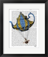 Framed Flying Teapot 3 Blue and Yellow