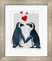 Framed Penguins With Love Hearts