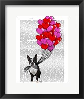 Framed Boston Terrier And Balloons