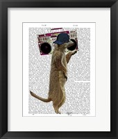 Framed Meerkat with Boom Box Ghetto Blaster