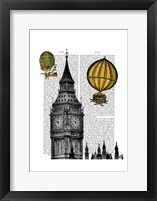 Framed Big Ben and Vintage Hot Air Balloons
