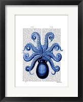 Vintage Blue Octopus 1 Underside Framed Print